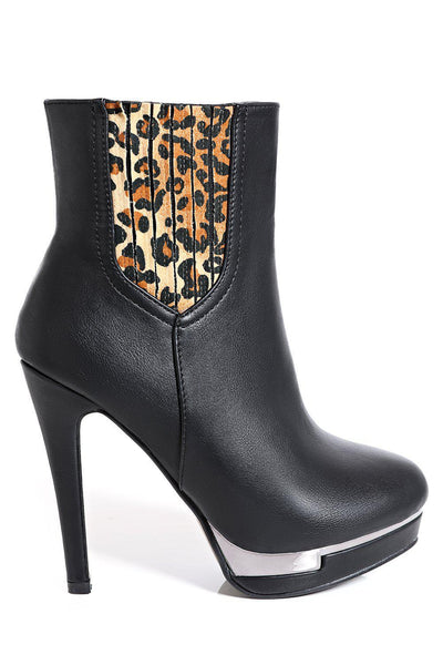 Leopard Print Black Tall Ankle Boots-SinglePrice