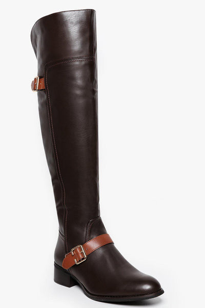 Brown Contrast Straps Over The Knee Boots-SinglePrice