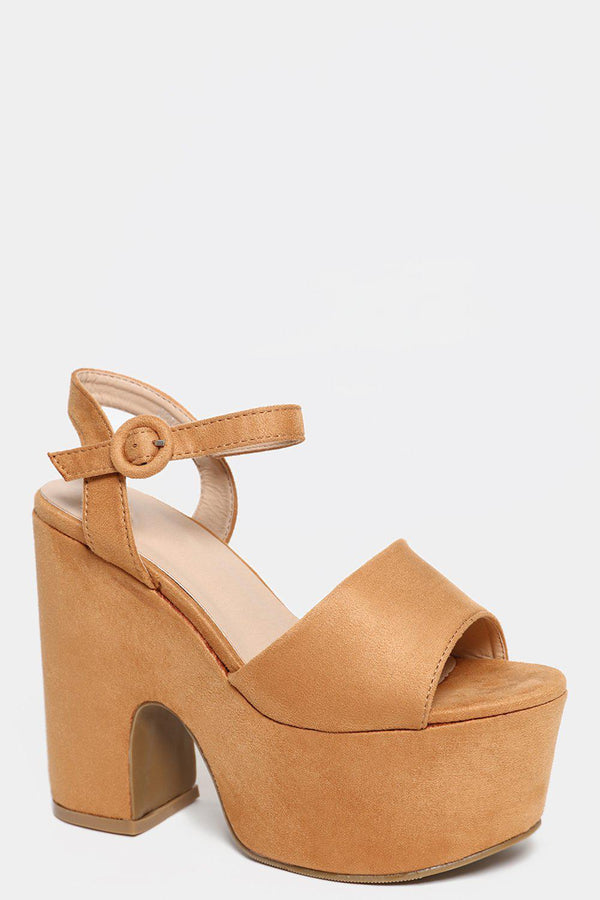 Camel Faux Suede Chunky Heel Sandals - SinglePrice