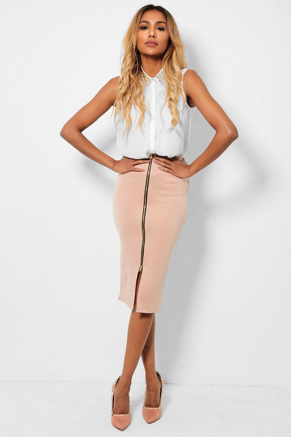 Nude Front Full Zip Pencil Midi Skirt-SinglePrice