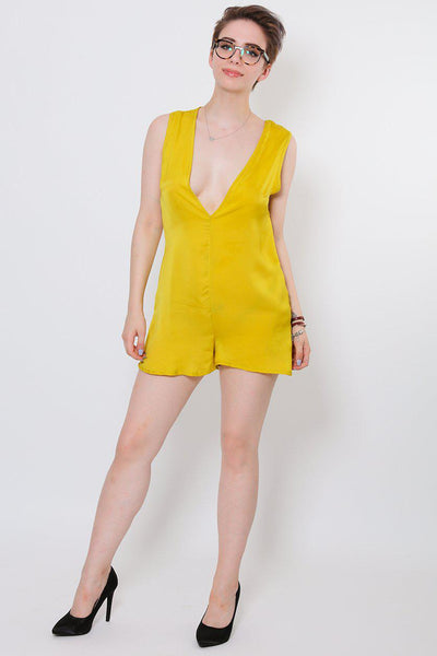 V-Neck Yellow Playsuit-SinglePrice