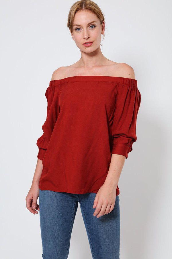 Brick Red Off Shoulder Blouse - SinglePrice