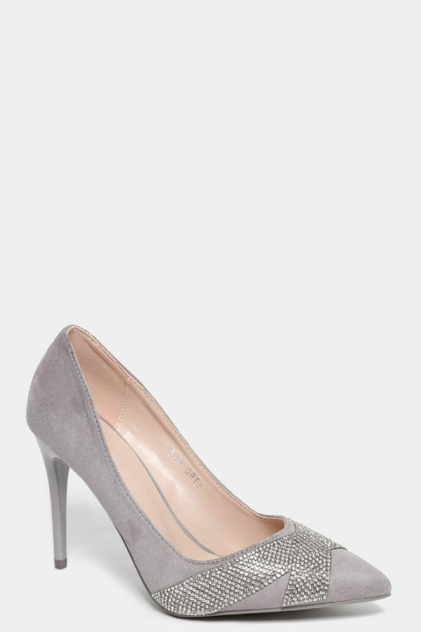 Grey Faux Suede Embellished Stiletto Heels - SinglePrice