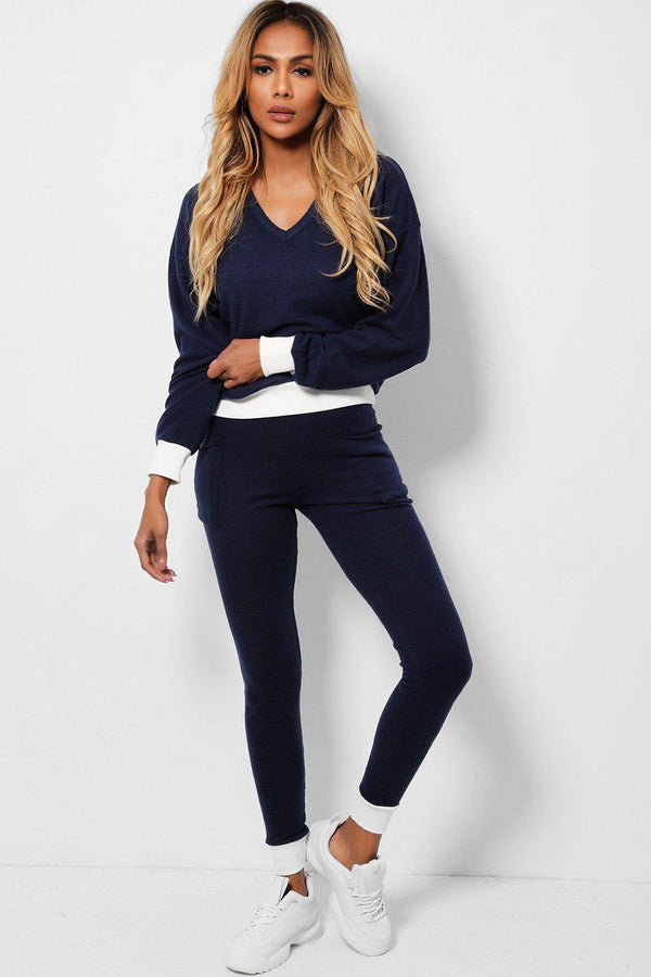 Navy Contrast Trims Super-Soft Knit 2 Piece Set-SinglePrice