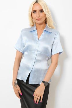 Blue Satin Tie Back Shirt - SinglePrice