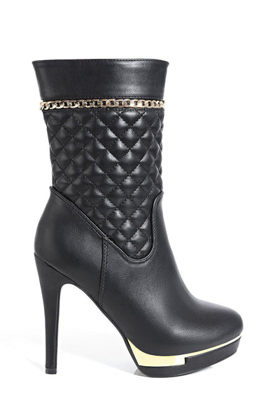 Black Quilted Tall Ankle Boots-SinglePrice