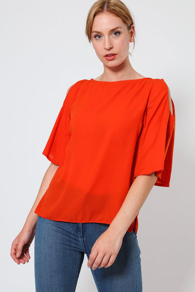 Orange Cold Shoulder Sheer Top-SinglePrice