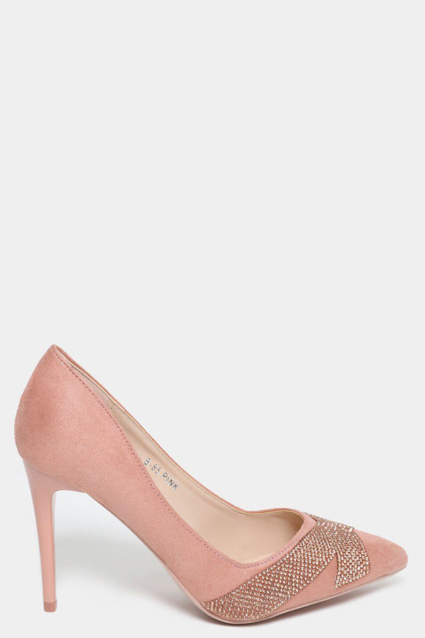 Pink Faux Suede Embellished Stiletto Heels - SinglePrice