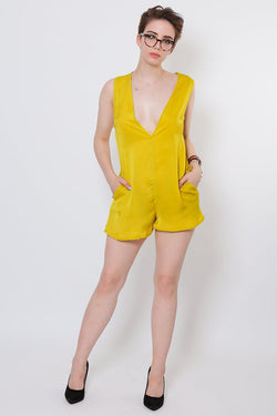 V-Neck Yellow Playsuit - SinglePrice