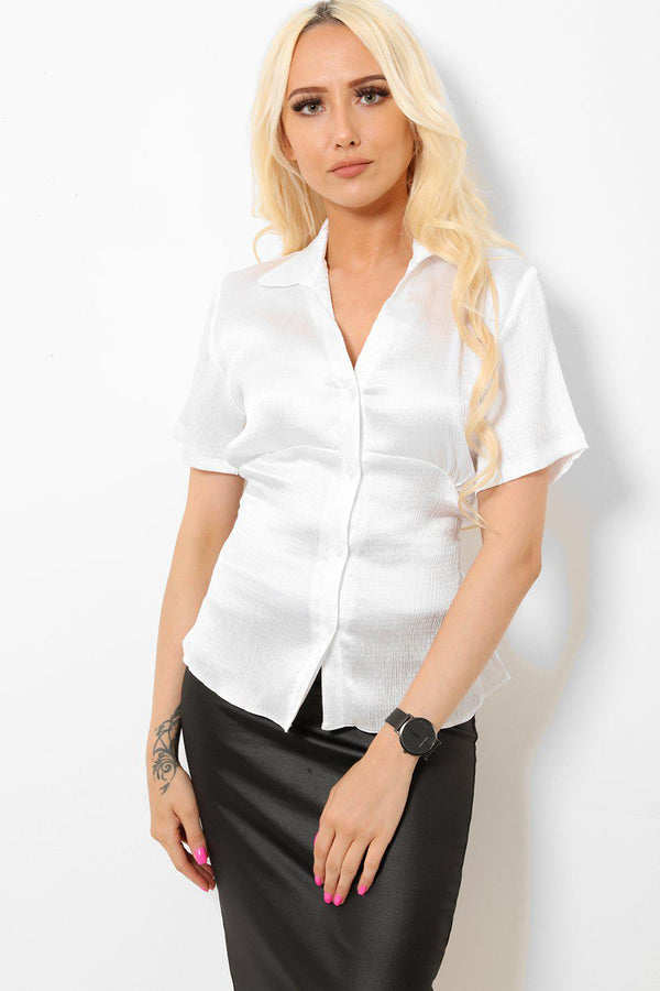 White Satin Tie Back Shirt-SinglePrice