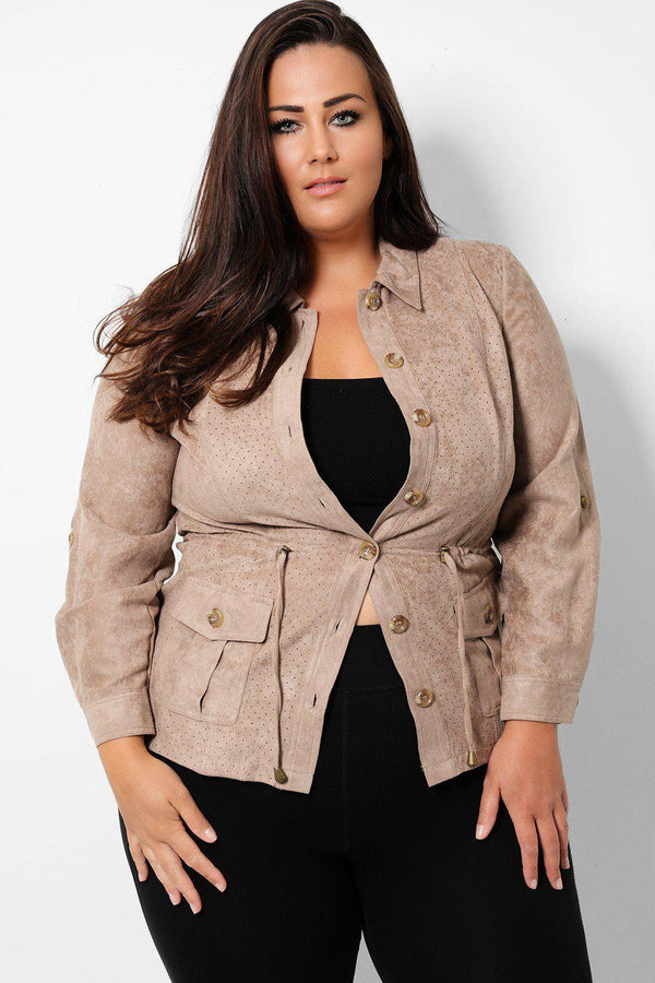 Mocha Drawstring Waist Vegan Suede Perforated Jacket - SinglePrice