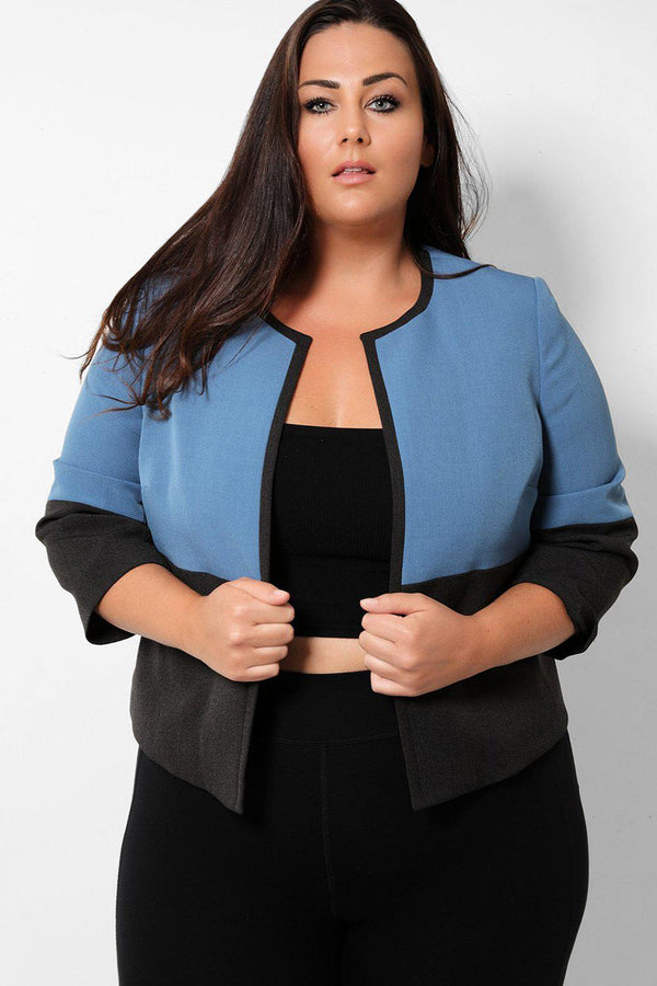 Blue Black Colour Block Cropped Open Front Blazer - SinglePrice