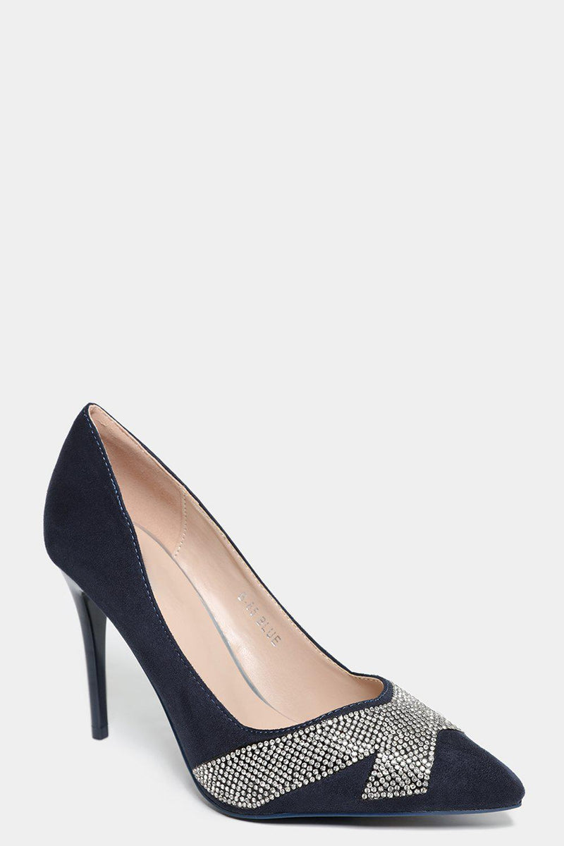 Blue Faux Suede Embellished Stiletto Heels - SinglePrice