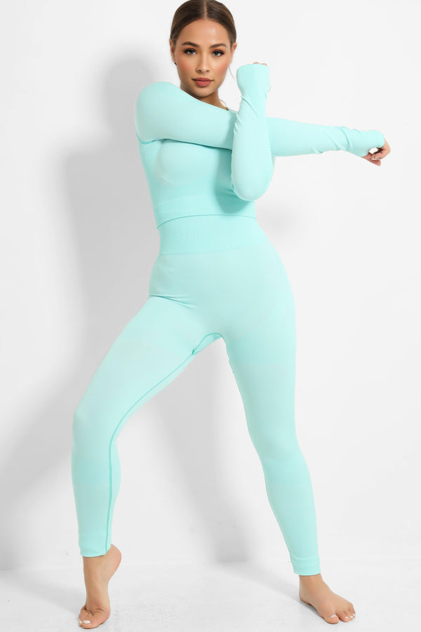 Aqua Seamless Top And Leggings Gym Set - SinglePrice