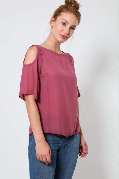 Dark Pink Cold Shoulder Sheer Top-SinglePrice