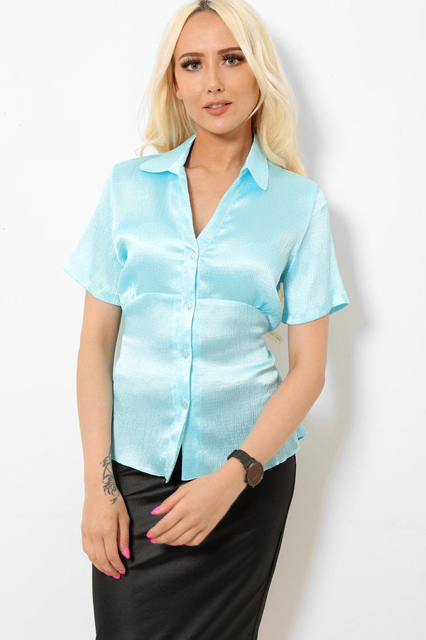 Light Blue Satin Tie Back Shirt-SinglePrice