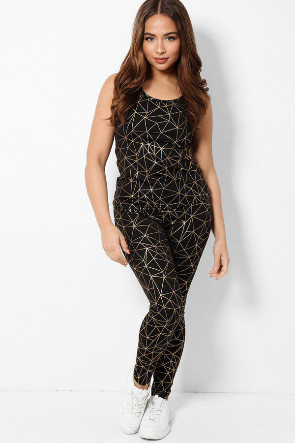 Black Gold Marbling Sleeveless 2 Piece Tracksuit - SinglePrice