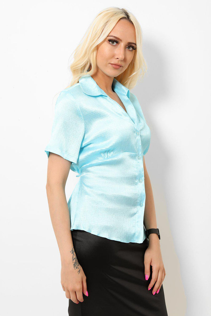 Light Blue Satin Tie Back Shirt - SinglePrice