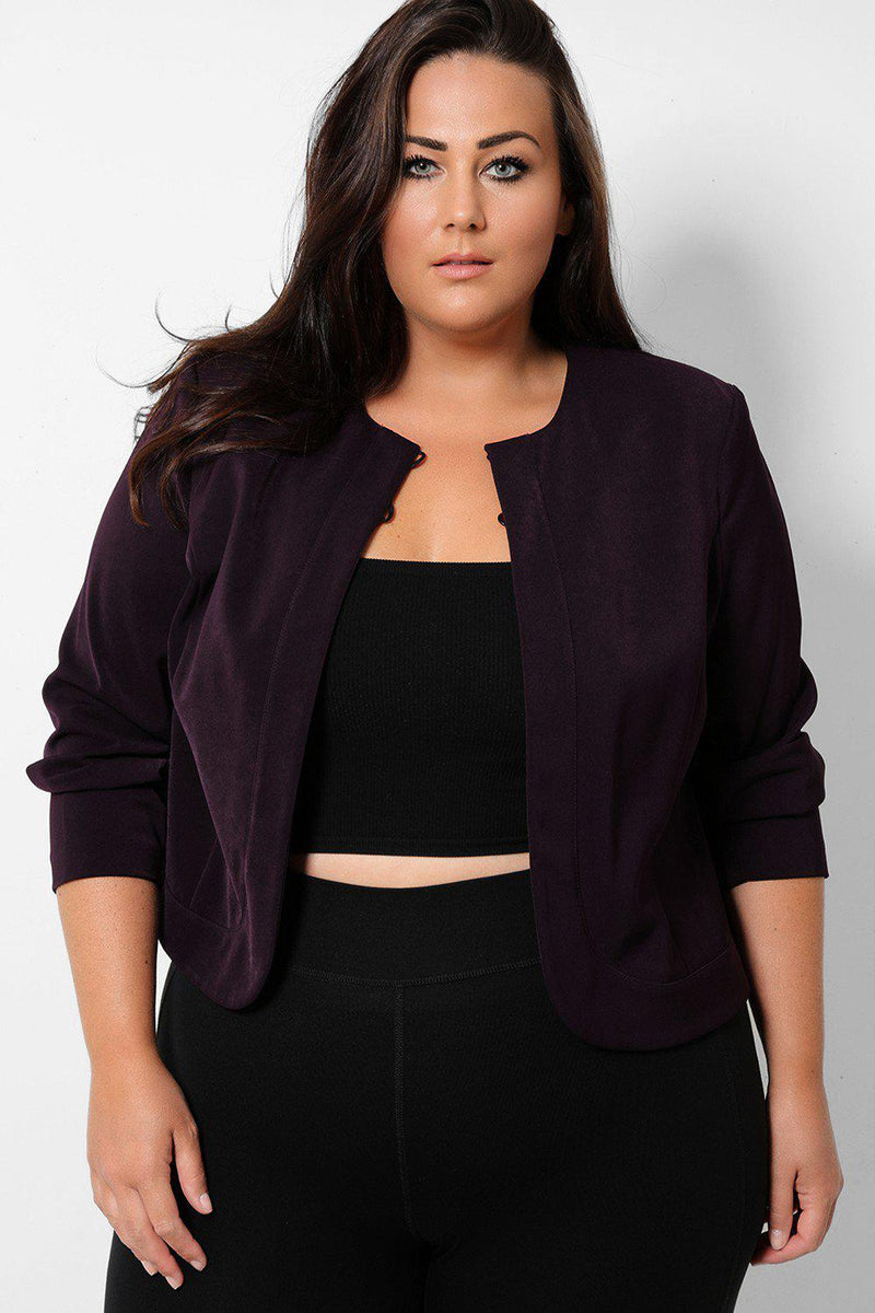 Dark Purple Two Front Buttons Blazer - SinglePrice