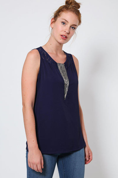 Navy Beaded Detail Sleeveless Top-SinglePrice