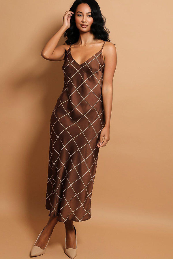 Brown Windowpane Check Satin Maxi Dress - SinglePrice