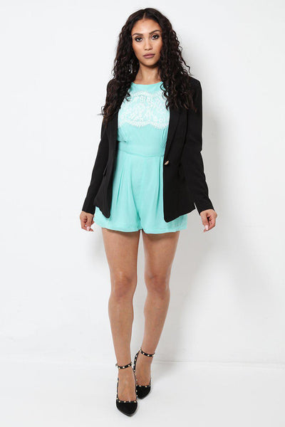 White Lace Front Light Blue Playsuit-SinglePrice