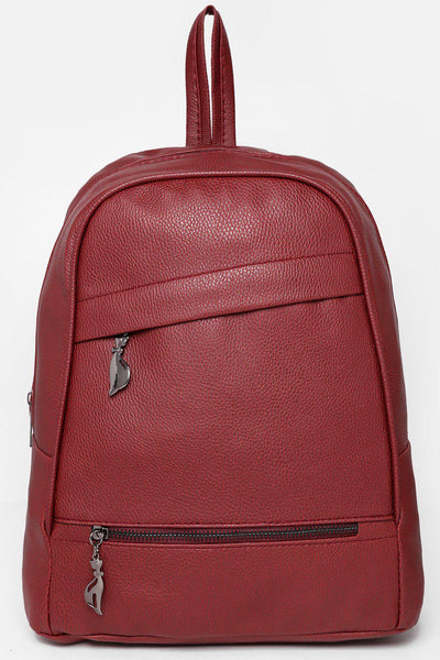 Double Asymmetric Zips Maroon Backpack-SinglePrice