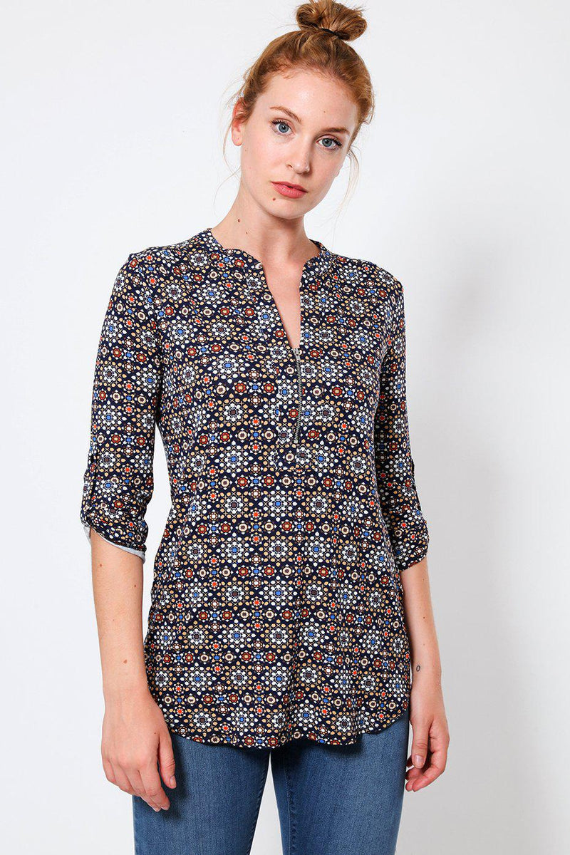 Navy Mixed Print Blouse-SinglePrice