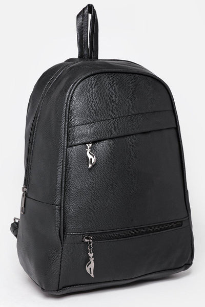 Double Asymmetric Zips Black Backpack-SinglePrice