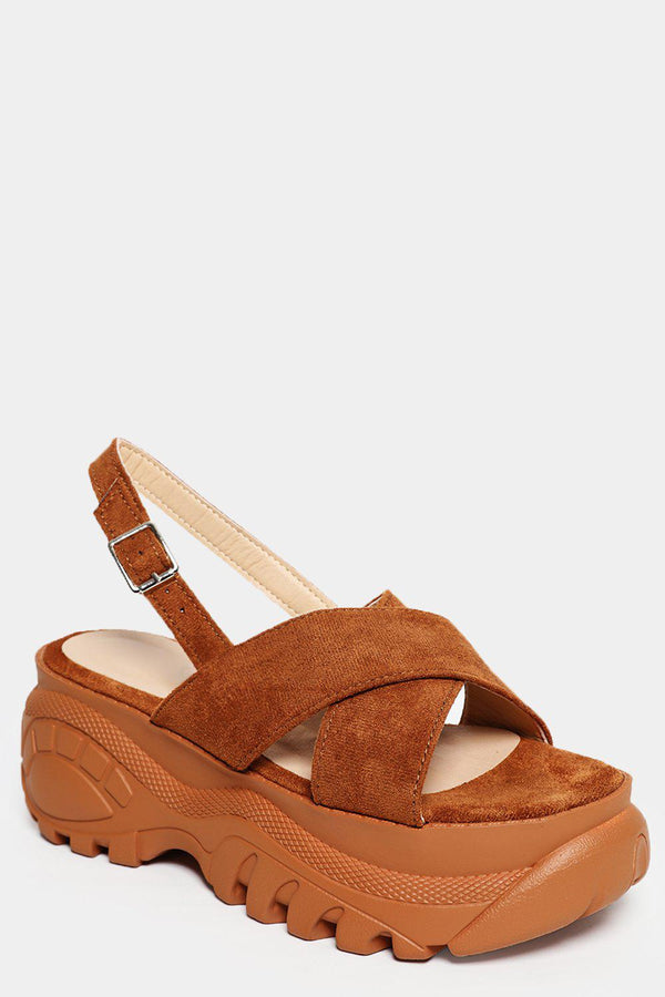 Camel Faux Suede Tractor Sandals - SinglePrice
