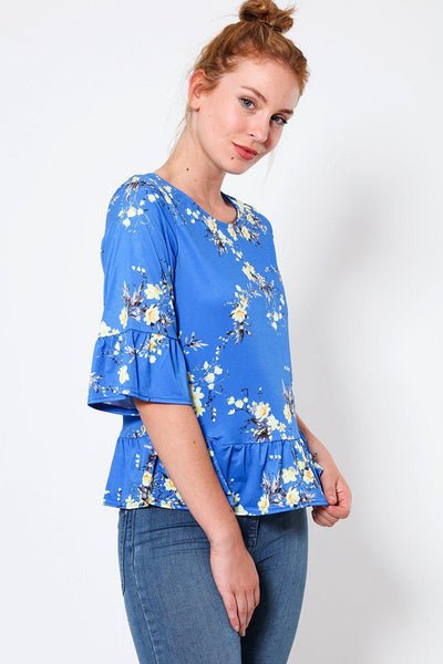 Blue Frill Details Floral Print Top-SinglePrice