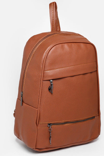 Double Asymmetric Zips Brown Backpack-SinglePrice
