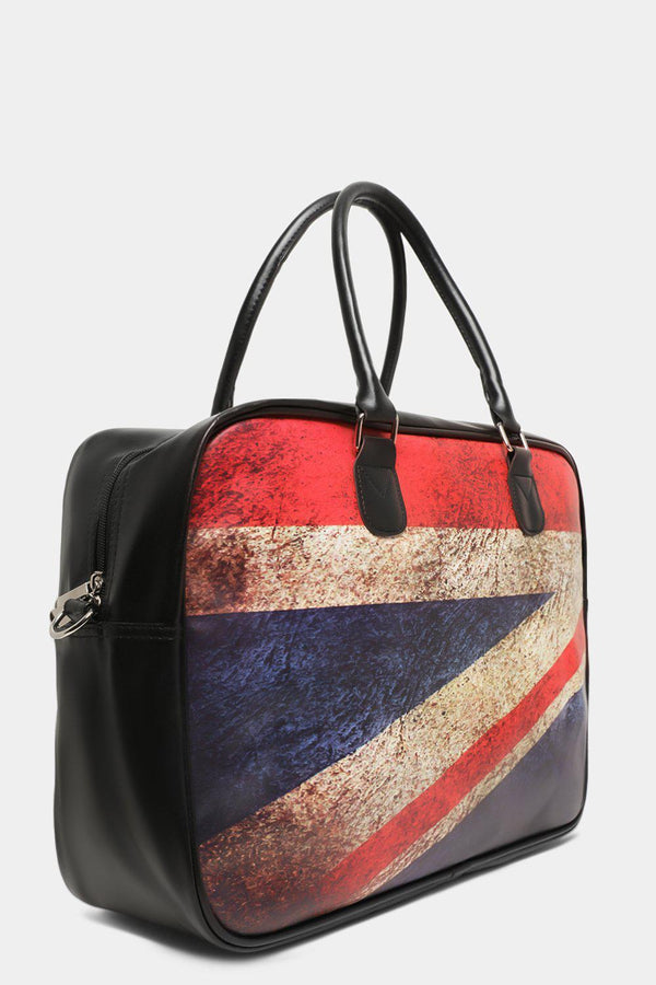 Black United Kingdom Fag Print Front Large Handbag - SinglePrice