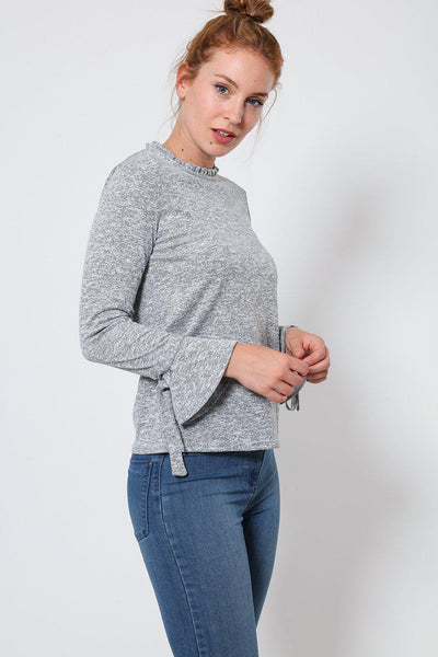 Grey Frill Details Jersey Top-SinglePrice