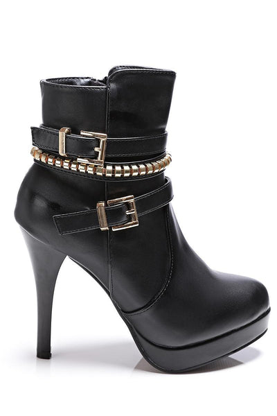 Black Buckle Detail Tall Ankle Boots-SinglePrice