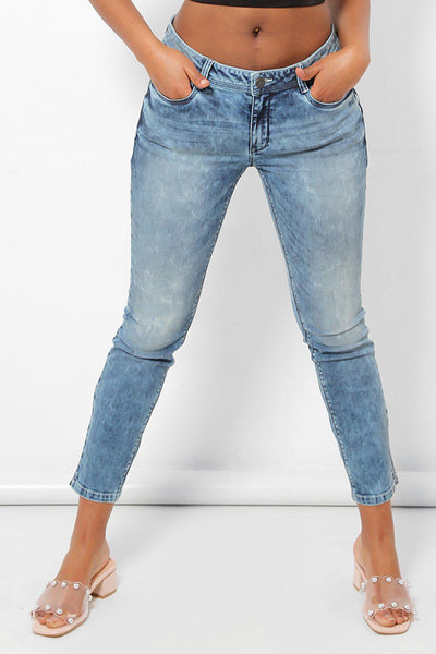 Curved Back Light Blue Skinny Push Up Jeans-SinglePrice