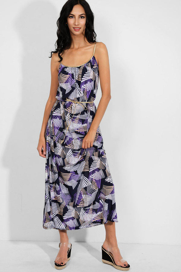 Purple Geo Print Braided Straps And Tie Up Slinky Maxi Dress - SinglePrice