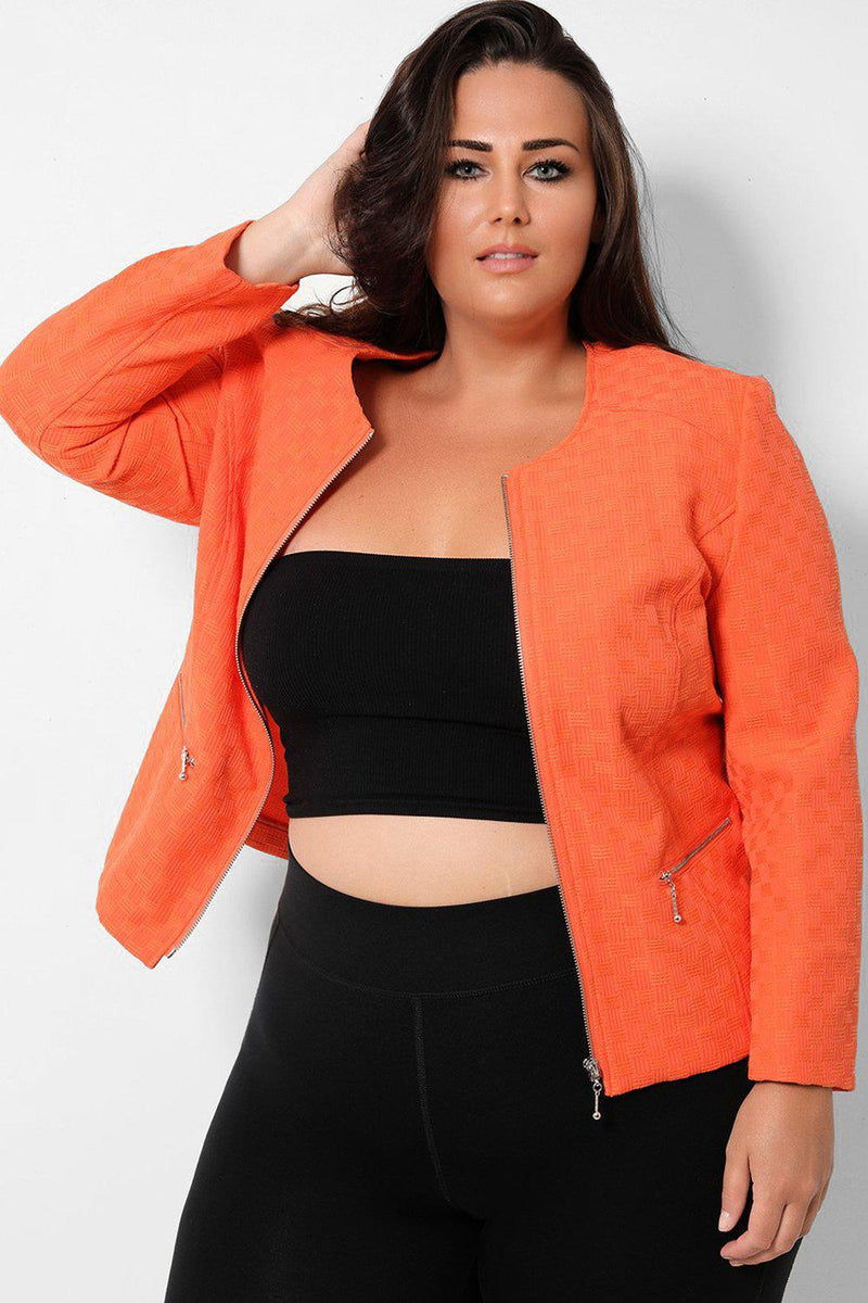 Orange Woven Texture Full Zip Jacket - SinglePrice