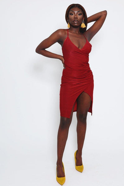 Thigh Split Ruched Dark Red Dress-SinglePrice