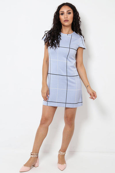 Short Sleeves Checked Blue Dress-SinglePrice