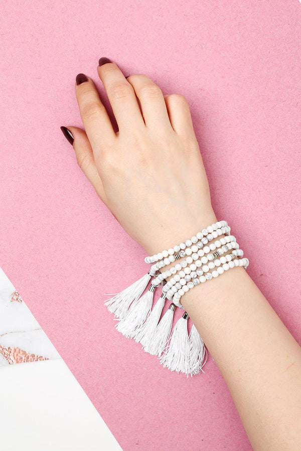 Pack Of 6 Tiny Marble Beads And Tassel Bracelets - SinglePrice