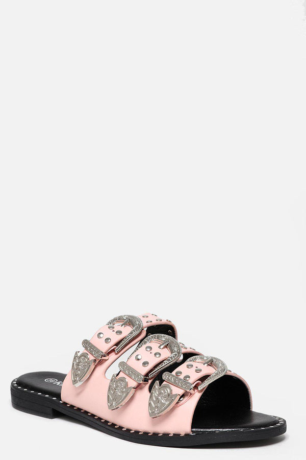 Triple Silver Buckle Pink Sliders-SinglePrice