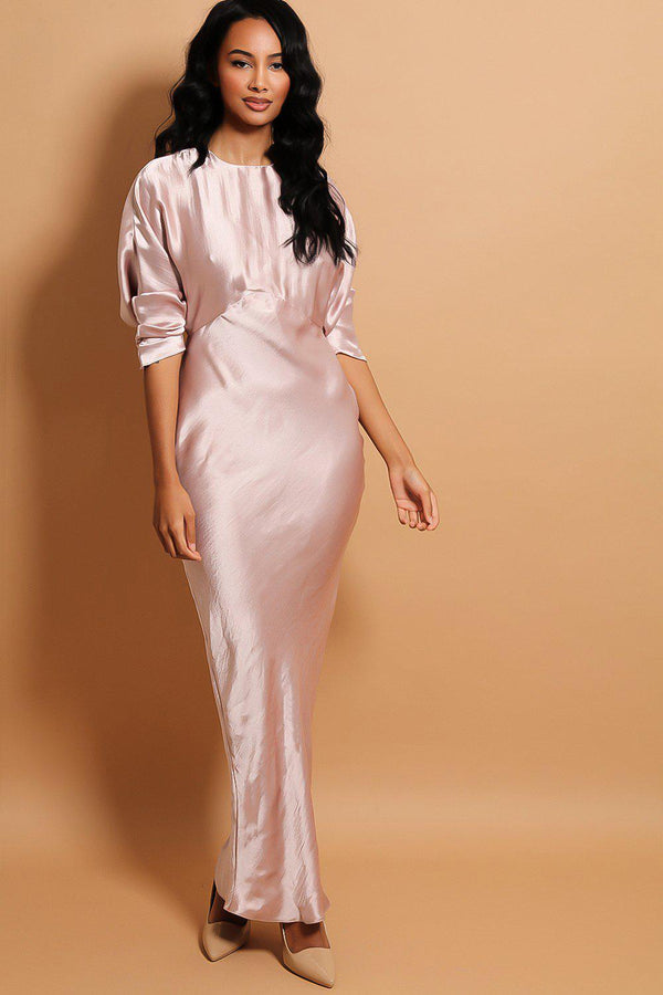 Blush Batwing Sleeves Crushed Satin Maxi Dress-SinglePrice