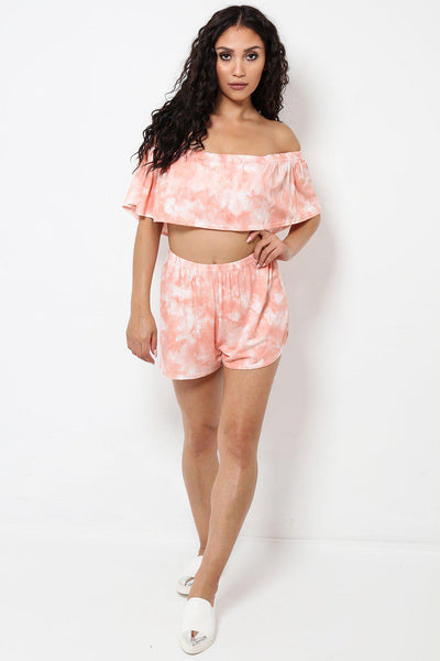 Tie Dye Orange Crop Bardot Top And Shorts Set-SinglePrice