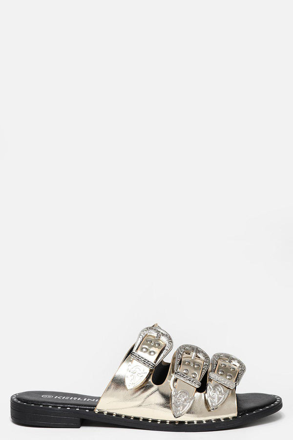 Triple Silver Buckle Gold Sliders-SinglePrice