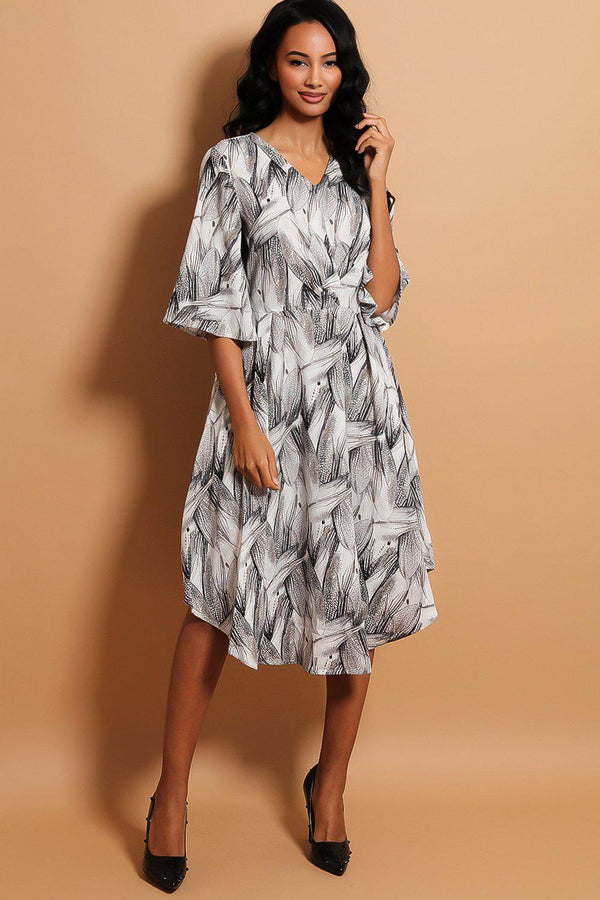 Black White Printed Flute Sleeves Moon Hem Dress
