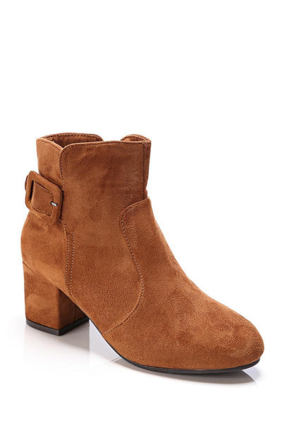 Camel Buckle Detail Suede Ankle Boots-SinglePrice