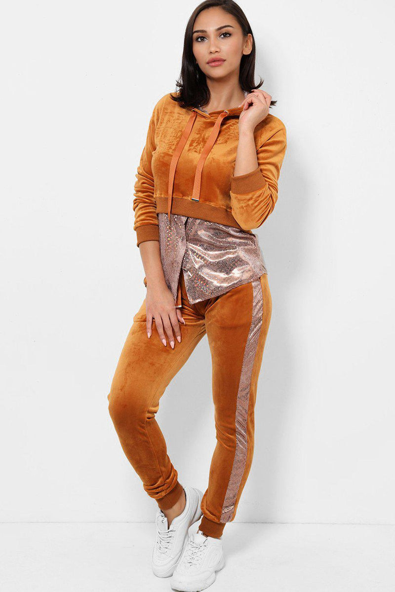 Shimmer Shirt Detail Brown Velour 2 Piece Tracksuit - SinglePrice