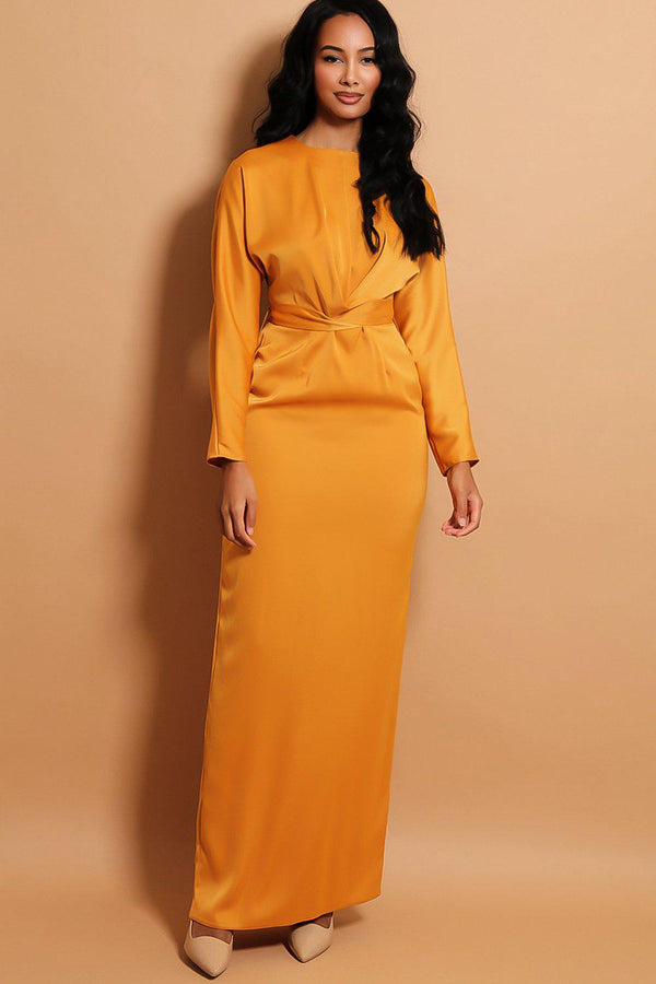 Mustard Satin Touch Wrap Over Belt Insert Maxi Dress