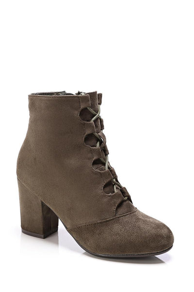 Khaki Lace Up Suede Ankle Boots-SinglePrice
